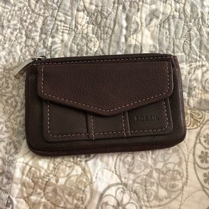 Fossil dark brown leather wallet!